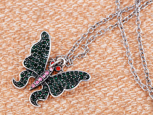 Green Emerald Pink Red Eye Butterfly Pendant Necklace