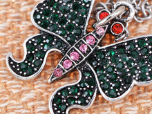 Load image into Gallery viewer, Green Emerald Pink Red Eye Butterfly Pendant Necklace