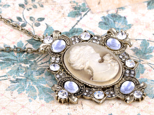 Cameo Maiden Woman Brass Lady Pendant Necklace
