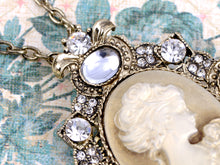Load image into Gallery viewer, Cameo Maiden Woman Brass Lady Pendant Necklace