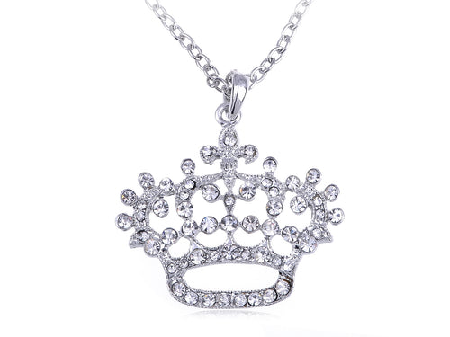 Princess Queen Crown Pendant Necklace