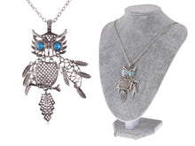 Load image into Gallery viewer, Color Blue Turquoise Eye Bird Owl Pendant Necklace