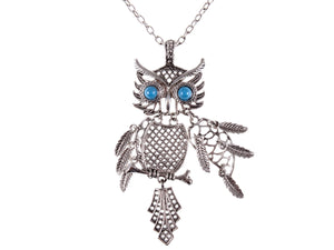Color Blue Turquoise Eye Bird Owl Pendant Necklace