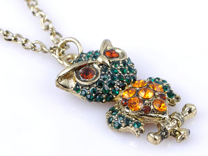 Colorful Green Body Angry Loud Bird Owl Pendant Necklace
