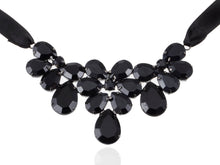 Load image into Gallery viewer, Jet Black Ss Victorian Gothic Multi Layer Bib Tie Necklace