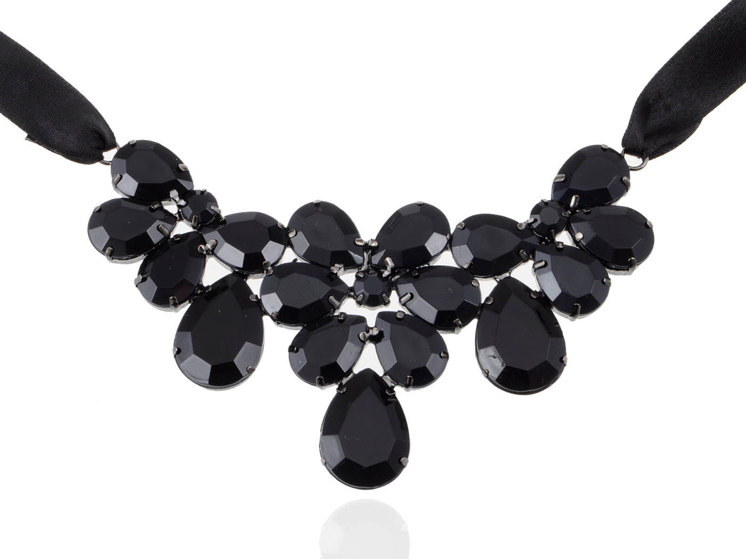 Jet Black Ss Victorian Gothic Multi Layer Bib Tie Necklace