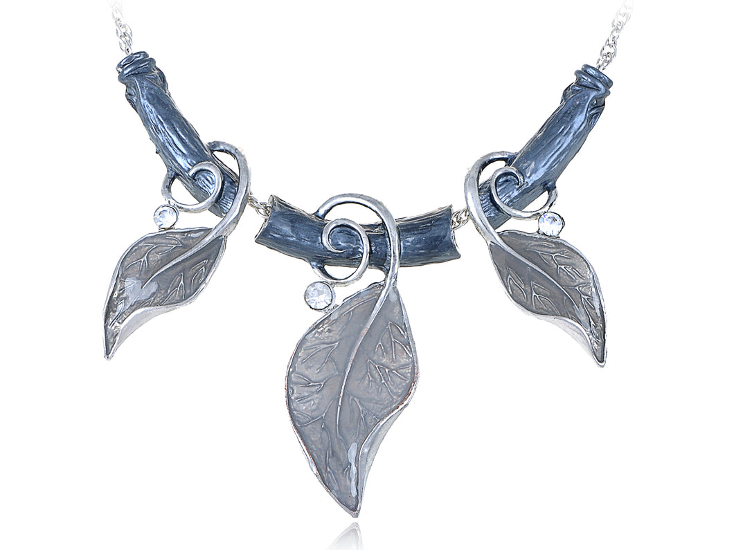 Silver Tone Vine  Leaf Pendant Necklace