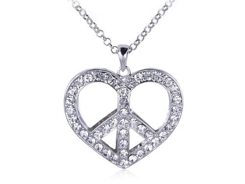 Retro Heart Love Peace Symbol Pendant Necklace