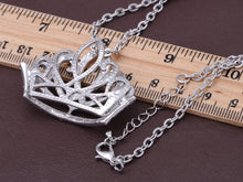 Load image into Gallery viewer, Princess Tiara Crown Pendant Necklace