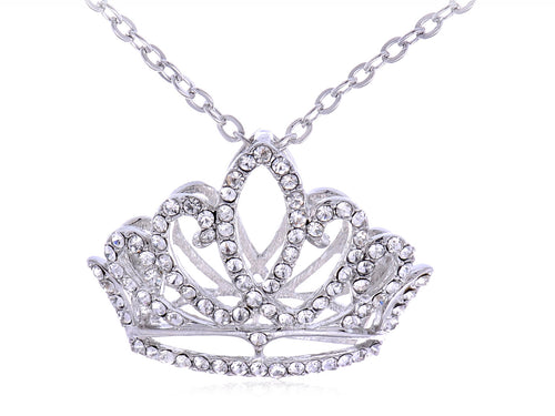 Princess Tiara Crown Pendant Necklace