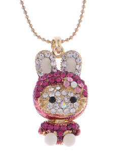 Hot Pink Bunny Girl Hooded Cat Kitty Face Rabbit Pendant Necklace