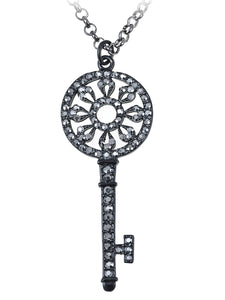 Gun Dark Color Lock Key Pendant Necklace