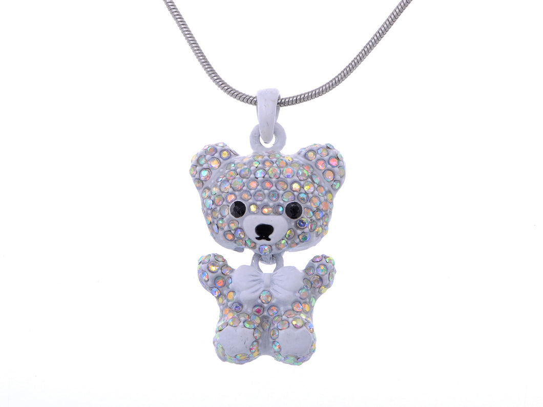 Iridescent Aurora Borealis Multicolored White Teddy Bear Pendant Necklace