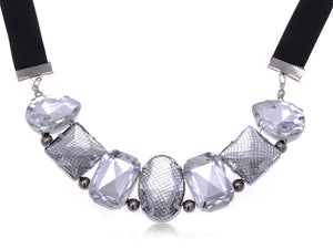Mesh Cover Big Gems Ribbon Necklace