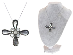 Cat Eye Flower Cut Out Petals Milky Center Cross Pendant Necklace