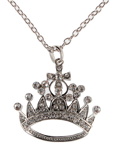 Bling Ice Empress Crown Royal Pendant Necklace