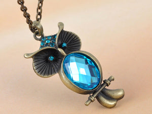 Blue Zircon Owl Perched Tree Branch Pendant Necklace