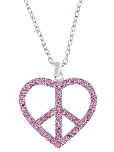 Pink Heart Peace Sign Symbol Pendant Necklace