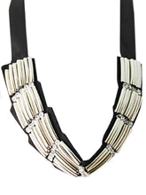 Load image into Gallery viewer, African Style Ethnic Tribal Long Pieces Ribbon Bib Necklace