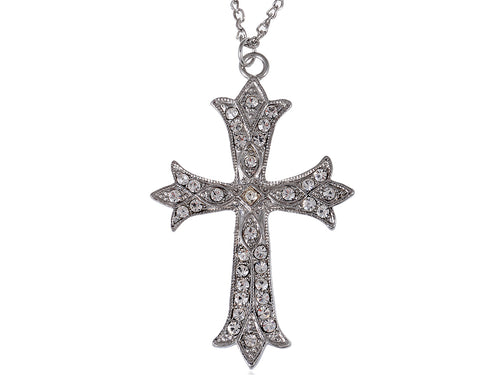 Alilang Vintage Inspired Reproduct Large Crystal Cross Necklace Pendant