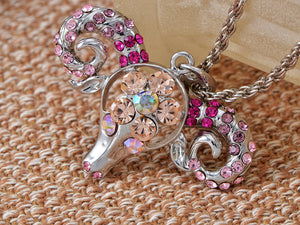 Dominating Pink Sheep Head Necklace Pendant