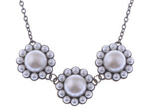Pearly Bead Trio Group Flower Sun Collar Brass Color Necklace