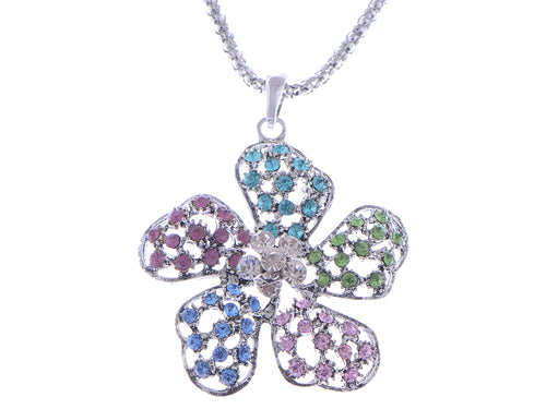 Pastel Color Petals Filigree Petunia Flower Floral Pendant Necklace
