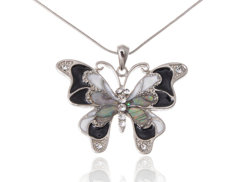 Abalone Colored Black White Butterfly Pendant Necklace