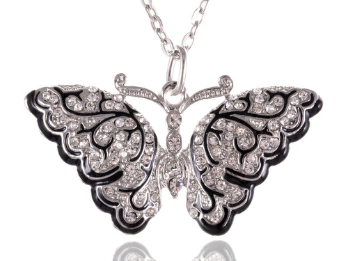 Immaculately Carved Silver D Black Enamel Art Deco Butterfly Necklace Pendant