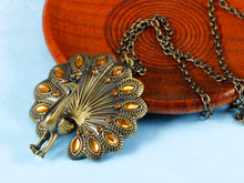 Load image into Gallery viewer, Antique Vintage Topaz Peacock Bird Pendant Necklace