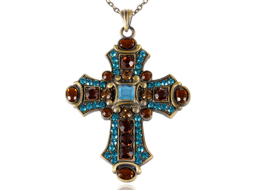 Huge Synthetic Aquamarine Blue Synthetic Topaz Crystal Rhinestone Accent Holy Cross Pendant Necklace