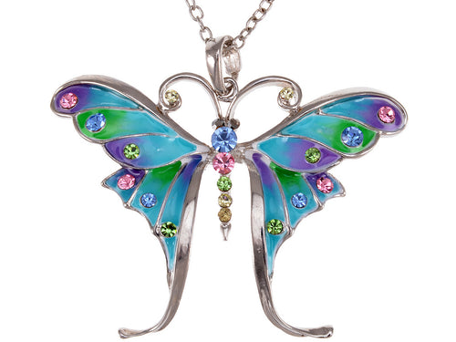 Enamel Elements Butterfly Pendant Necklace