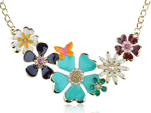 Enamel Flower And Butterfly Bib Statement Necklace Pearl