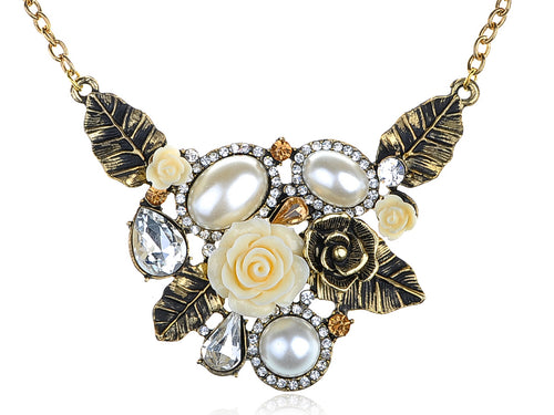 Antique Pearl Floral Flower Cream Rose Bib Necklace