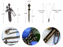 Load image into Gallery viewer, Antique Fantasy Medieval Renaissance Removable Scabbard Rune Sword Dagger Pendant Necklace