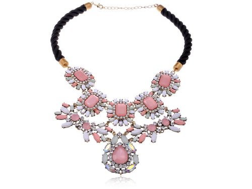 Pastel Pink White Bead Floral Statement Bib Necklace