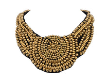 Load image into Gallery viewer, Tribal Colorful Beaded Bib Scallop Edge Statement Necklace