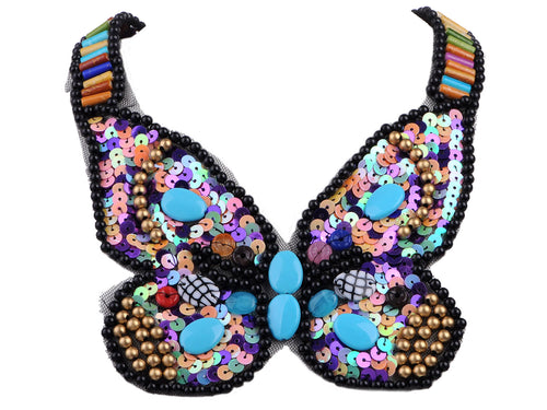 Tribal And Ethnic Colorful Beads Sequins Butterfly Statement Necklace