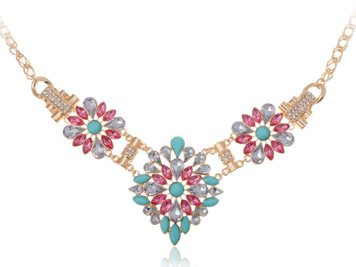 Spring Time Floral Blue Pink Burst Necklace