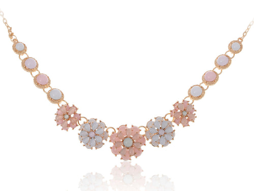 Floral Spring Pastel White Pink Beaded Flower Chain Necklace