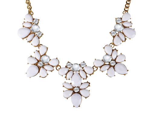 White Gemss Contemporary Floral Statement Necklace