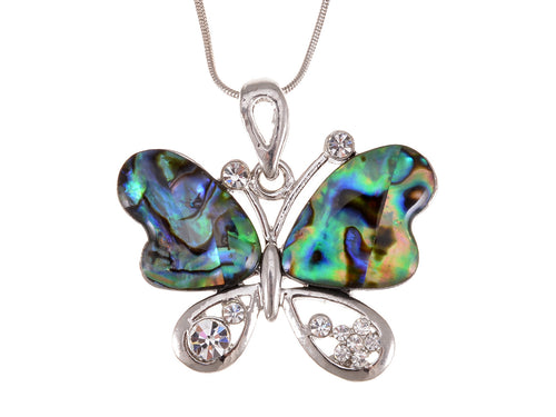 Multicolor Abalone Shell Butterfly Insect Wings Statement Pendant Necklace