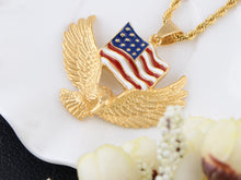 Load image into Gallery viewer, American Flag Eagle Pendant Patriotic Ornament Necklace