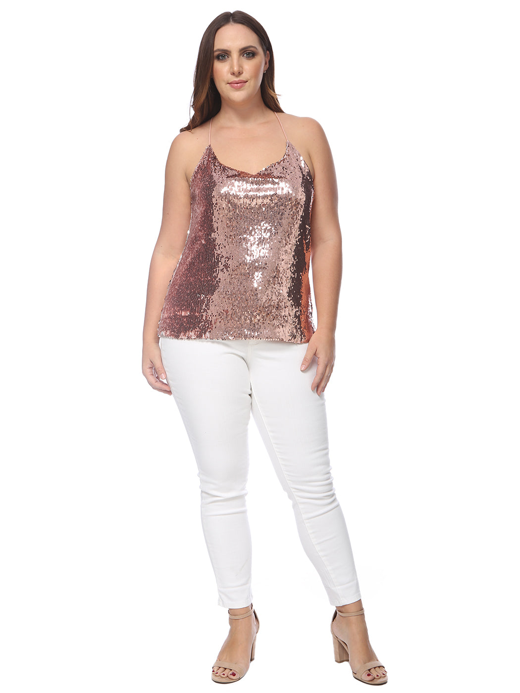 Plus Size Camisole Sequin Tank Top