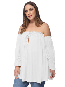 Plus Size Cold Shoulder Peasant Top