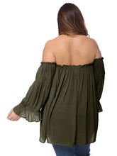 Load image into Gallery viewer, Plus Size Cold Shoulder Peasant Top