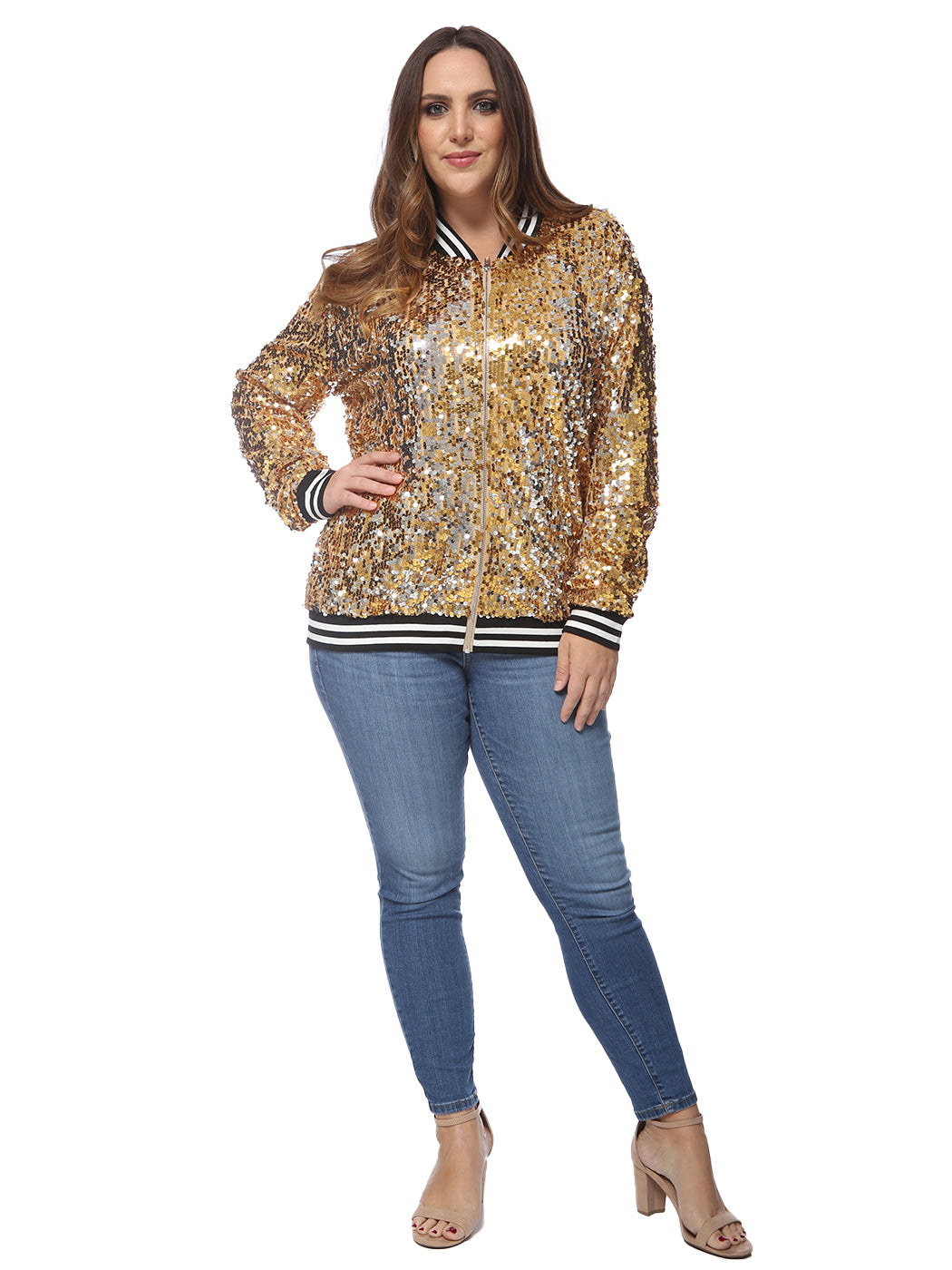 Plus Size Sequin Bomber Jacket