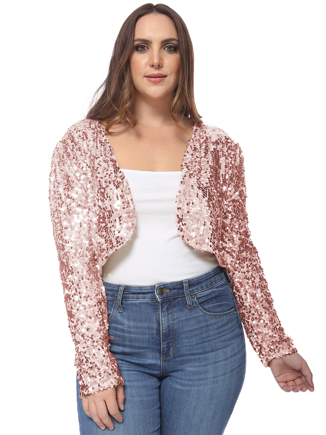 Plus Size Sequin Bolero