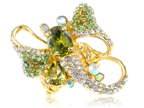 Dragonfly Zircon Peridot Wings Ring Size 6 7 8 9