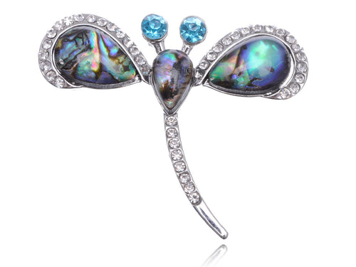 Abalone Colored Enamel Firefly Dragonfly Statement Ring